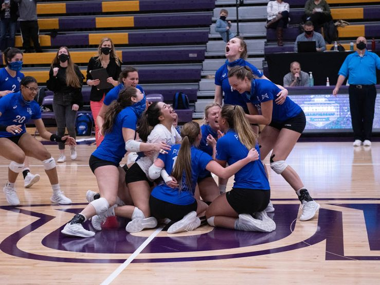 Bethel Women's Volleyball team celebrates after winning National Championship